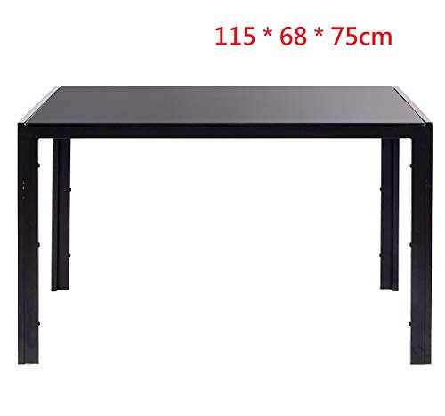 EBS My Furniture Set Sala da Pranzo Tavolo da Pranzo in Vetro Temperato Lucido con Gambe in Metallo e Sedie da Pranzo di Moda Ecopelle (Nero, Tavolo - 115 * 68 * 70cm)
