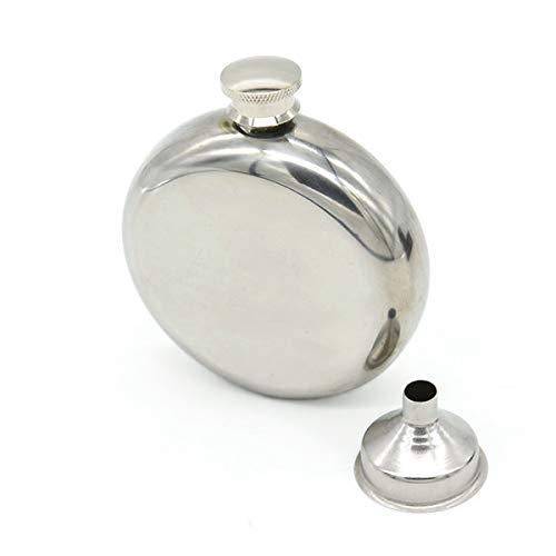 BSTHP - Fiaschetta in acciaio INOX con imbuto per vino, per whisky, vodka, 141,7 g, colore: Argento