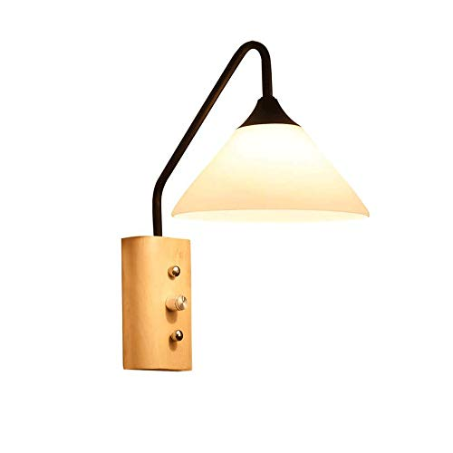 Wandlamp Nordic Genre Modern Wood wandlamp met Switch, Wall Light Sockets Wandlamp Nordic Style Lamp van de Muur (Color : Black)