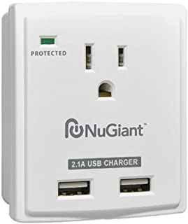 Inland NSS14 Wall Tap Style 1 Outlet Surge Protected 2-USB Charger Ports with 2.1A for iPad