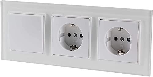 Enchufe doble con interruptor en cruz, todo en uno, marco + pieza empotrada + cubierta, color blanco