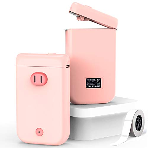 GOGUM D30S Label Maker,Smart Bluetooth Label Maker with 1 Roll Adhesive Label Thermal Paper,Portable Mini Thermal Label Printer for Smartphone Tablet,Easy to Use for Office,Home,Organization (Pink)