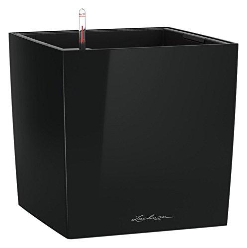 LECHUZA CUBE Premium 50, Schwarz Hochglanz, Hochwertiger Kunststoff, Inkl. Bewässerungssystem, Herausnehmbarer Pflanzeinsatz, Für Innen- und Außennutzung, 16569