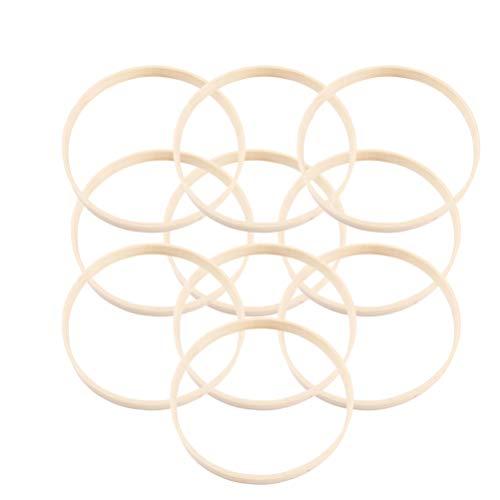 SUPVOX anillos de atrapasueños de bambú de madera aros redondos para atrapasueños diy craft floral hoop craft diy decoración de la boda herramientas de bordado accesorios artesanales 23cm 20pcs