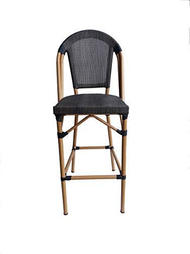 LaNatura SIT&Chairs Barhocker Kunststoffgewebe Aluminium Beige Dunkelbraun