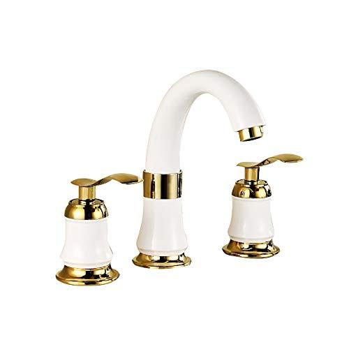 XVXFZEG 2-Manija generalizada cascada baño grifo de servicio con el pop-up fregadero conjunto del drenaje y de suministro del grifo Líneas 3 orificios for lavabo de baño, tocador Aseo for grifos buque