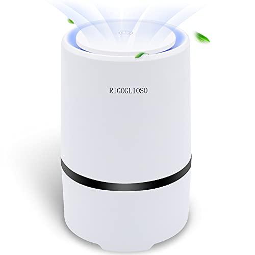 RIGOGLIOSO Purificador de Aire con Filtro HEPA, Air Purifier Filtro Captura 99,97% de Alergias, Polen, Olores, Polvo y Caspas de Mascota Humo, Portátil Purificador Aire Para Hogar, Luz Nocturna