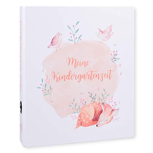 Ordner Portfolio Kindergarten (DIN A4-350 Blatt Breit) - Meine Kindergartenzeit Motivordner - Geschenk zum Kindergartenstart - Kita Ordner - Aktenordner, Fotoalbum für Kinder - Waldtiere