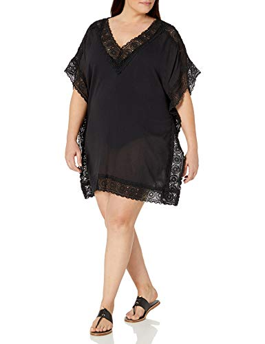 La Blanca Women's Plus Size Short Sleeve Tunic Swim Cover-up, Black, 1X