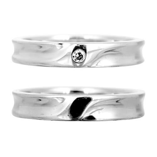 [ココカル]cococaru ペアリング シルバー リング2本セット ダイヤモンド マリッジリング 結婚指輪 日本製(レディースサイズ2号 メンズサイズ1号)