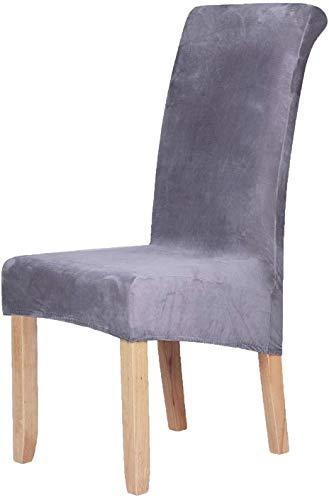 Homaxy Velvet Stretch Esszimmerstuhl Hussen - Spandex Plüsch Stuhlhussen Solide Großes Esszimmer Stuhl Protector Home Decor Set 6, Silber-Grau