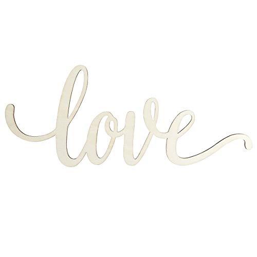 WINOMO Holzbuchstaben Deko Schriftzug Love Dekobuchstaben 3D Wanddeko 30,5 x 12,7 x 0,4 cm