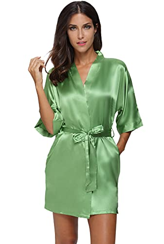 The Bund womens Pure Colour Short Kimono Robes with Oblique V-Neck Green Large