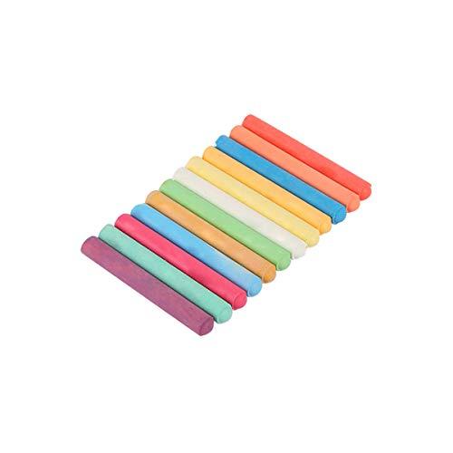 Tizas de colores, 12 piezas sin polvo para pizarra infantil dibujo escuela de aprendizaje (aproximadamente 1 x 7,8 cm)