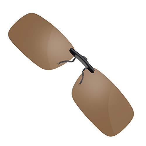 Gafas de sol con clip sin marco, UV400 Flip-Up polarizadas lentes de sol marrón oscuro para conducir viajar deporte al aire libre