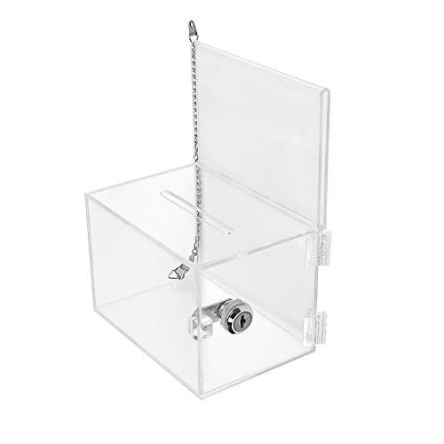 Confezione da 2unità Umei bloccabile acrilico Carità donazione scatole con catena in metallo