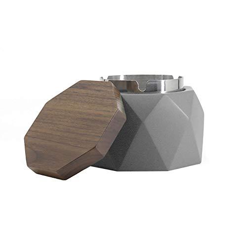 NEDTO Aschenbecher mit Deckel für Draussen Grau Zement Dekoration Wohnung,118 * 55mm,Aschenbecher Beton Grau (Grey, walnut cover)