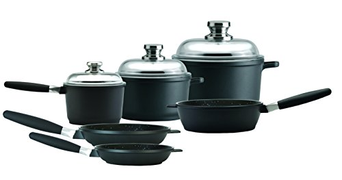 EuroCAST by BergHOFF Chef Set with 3 Lids | Ceramic and Titanium Cooking Surface | Durable, Lightweight Cast Construction | Detachable Handle for Oven Use | Designed in Europe. Made for America