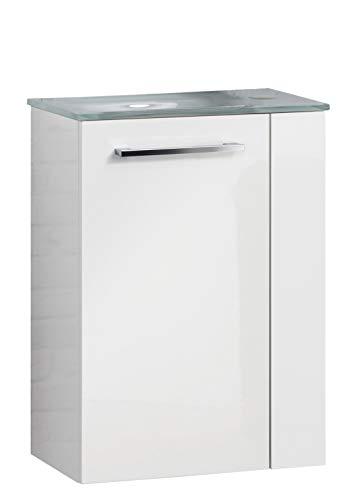 FACKELMANN Rondo Gäste WC Set Links 2 Teile/Glas Waschbecken/Waschbeckenunterschrank mit 1 Tür/Badschrank mit Soft-Close/Türanschlag Links/Korpus: Weiß/Front: Weiß/Breite: 45 cm