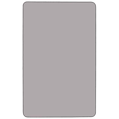 Flash Furniture Mobile 36''W x 72''L Rectangular Grey Thermal Laminate Activity Table - Standard Height Adjustable Legs