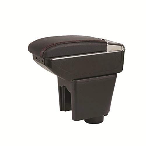 LIGUANGWEN Caja de Almacenamiento de la Consola Central Armés Armit Rest Rest Support Bandeja para Chevrolet Nexia Daewoo Kalos Gentra Revon R3 B Black Line Black (Color : C Black White Line)