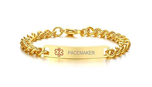 Pacemaker Medical Alert Bracelets- 8mm High Polished Surgical Steel Chain Medical Alert ID Bracelets for Women and Men,Gold Plated