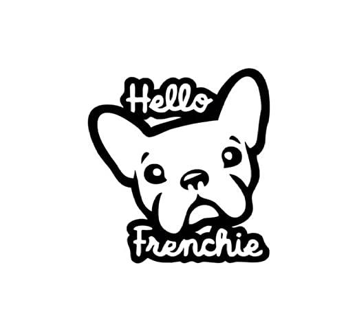 Auto Stickers En Stickers Honden 11Cm * 11.7Cm Creatieve Dier Hond Hallo Frenchie Grappige Auto Raamstickers