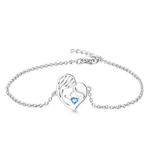 YL Pulsera Madre e Hija Plata de Ley 925 Pulsera de Corazón de Azul Aguamarina Cortada para Mamá Mujer, Cadena 18-20CM