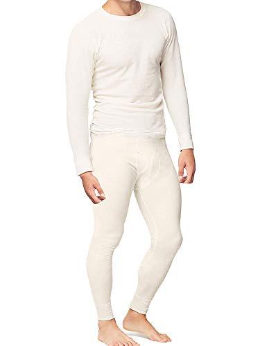 Place and Street Men's Cotton Thermal Underwear Set Shirt Pants Long Johns White
