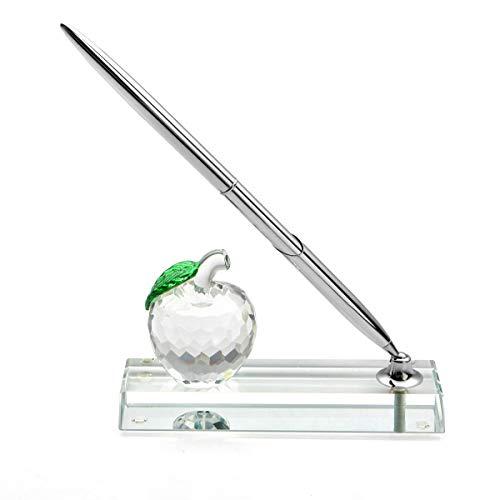 Juego de bolígrafos de escritorio con soporte de cristal para Apple Pen y bolígrafo de firma de latón plateado, accesorios de escritorio de oficina de cristal - Regalo para la apreciación del profesor