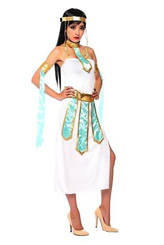 Lovelegis Disfraz de Cleopatra - Egipcio - Blanco - Dorado - Disfraz - Mujer - Adultos - Halloween - Carnaval - Fiestas - Talla m - Idea de Regalo para cumpleaos