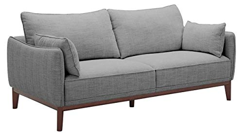 Amazon Brand – Stone & Beam Hillman Mid-Century Sofa Couch with Wood Base and Legs, 78'W, Fog Gray