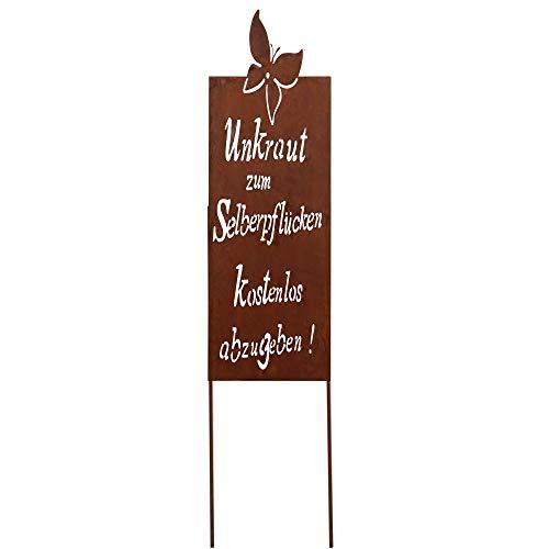 RM Design Gartendeko Gartenstecker aus Edelrost Metall Garten Schild mit Spruch Unkraut 90x30 cm