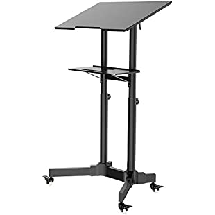 1home Mobile Table Laptop Desk Stand Notebook Cart Tray Compact Adjustable Workstation