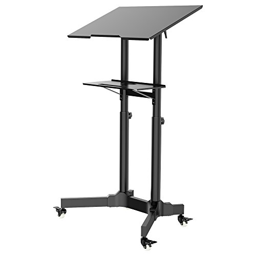 BONTEC Mobile Standing Desk, Height Adjustable Laptop Stand up Desk with Wheels, Home Office Portable Rolling Laptop Cart Workstation for Standing or Sitting