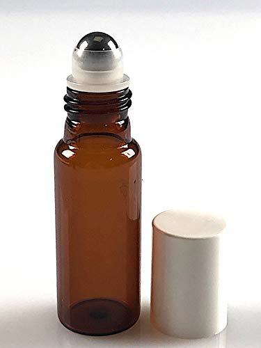 Flacon verre roll-on 10ml en verre ambré + capsule blanche par lot de 20pcs