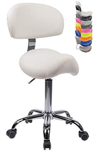 1stuff® Sattelhocker Sattelstuhl MULY BIGBACK - ergonomisches Sitzen bis ca. 74cm - Rollhocker Arzthocker Arbeitshocker Praxishocker Drehhocker (weiß mit Lehne)