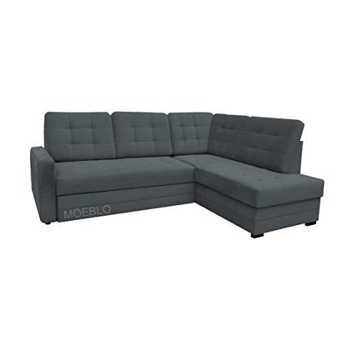 Canapé d'angle 3 places Gris Tissu Moderne Confort