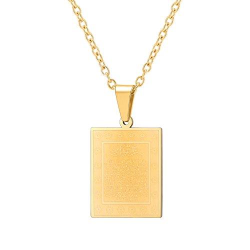 PROSTEEL Ayatul Kursi Quran Pendant Necklace Gold Plated Vintage Ayat al Kursi Prayer Islam Allah Jewelry Islamic Fashion Ramadan Eid Gift for Muslim Arabic Necklace