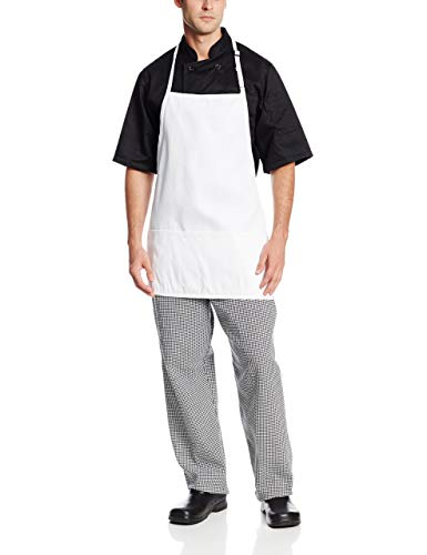 Chef Revival 600BAW Poly Cotton Deluxe Fabric Bib Apron with Pencil Pocket, 34 by 34-Inch, White
