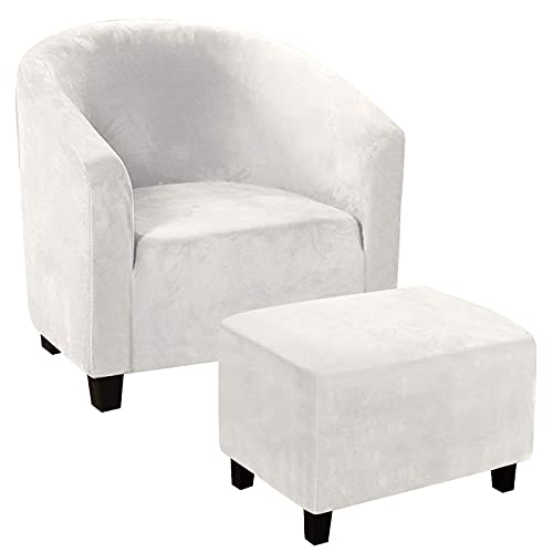 Club Chair Slipcover Armchair slipcover Bundles Rectangular Ottoman Slipcover Footstools Covers 2 Piece Sets Furniture Protective Cover with Elastic Bottom(White,XL)