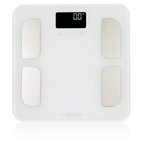 SEBSON Pèse Personne Impédancemètre numérique, Analyse Corporelle - Poids, IMC, Muscles, Graisse, etc (8 valeurs) - Balance Personnelle 180kg, 310x310x24mm