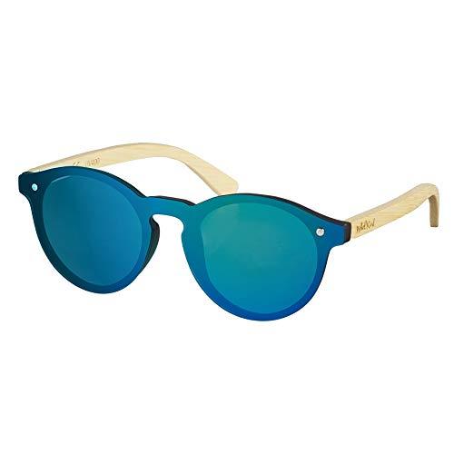 Nebelkind Unisex Runde Kunststoff/Bambus Sonnenbrille mit Bambus Etui Grün Verspiegelt One Size