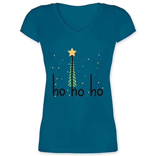 Weihnachten & Silvester - Ho ho ho Motiv - 3XL - Türkis - Geschenk - XO1525 - Damen T-Shirt mit V-Ausschnitt