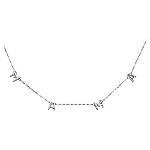 Sylar Collar de Letra Mama Joyas chapadas en Oro Real Joyas de Cadena de clavícula para Mujer, Joyas de Amistad, Regalo del Día de la Madre