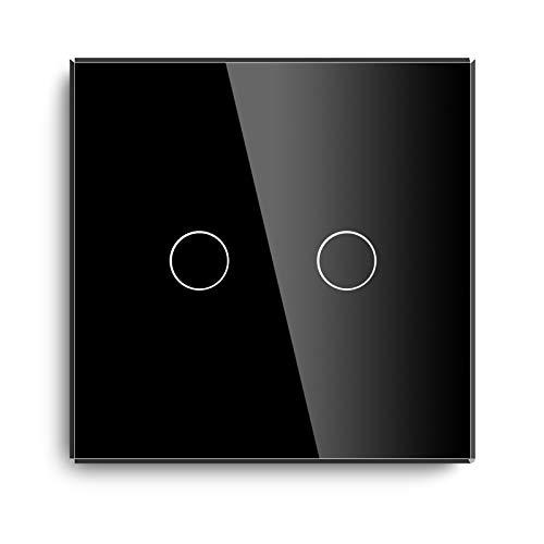 BSEED Interruptor Táctil Normal Interruptor de Luz de Pared Táctil de Vidrio 1000W de Alta Energía 110V - 240V Placa de Cristal Endurecido con LED Retroiluminación 2 Gang 1 Vía Negro