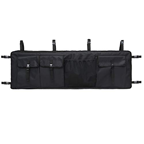 mydays Gun Rack for UTV,Double Gun Carrier Rifle Case Rear Storage Bag Roll Cage Cargo Organizer (Black, L)