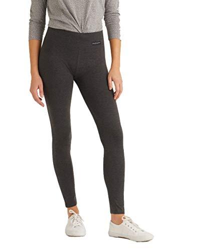 MAGIC SELECT Legging Largo básico de algodón, Malla elástica de Cintura Alta para Mujer (Gris, S)