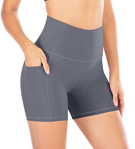 Matymats High Waist Yoga Shorts with Zipper Pockets Womens Tummy Control Workout Biking Running Shorts
