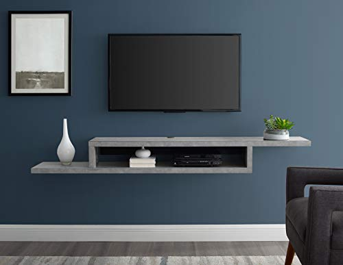 """Martin Furniture Asymmetrical Floating Wall Mounted TV Console, 72inch, Stone Gray, 72"""""""